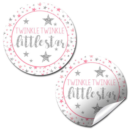 "Twinkle Twinkle Little Star Baby Girl Sprinkle Baby Shower Thank You Sticker Labels, 40 2"" Party Circle Stickers By Amandacreation, Great For Party Favors, Envelope Seals & Goodie Bags"