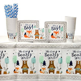 Bear-Ly Wait Party Supplies Pack For 16 Guests: Straws, Dessert Plates, Beverage Napkins, Table Cover, And Cups
