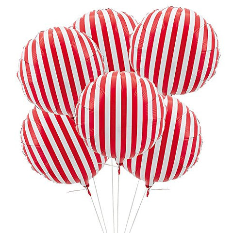 Red Striped Mylar Balloons - 6 Piece Set - 18