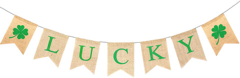 Kissdate St Patrick'S Day Burlap Banner, Irish Lucky Four Leaf Clover Shamrock Flags, Perfect For Decorations Party Supplies Home Decor