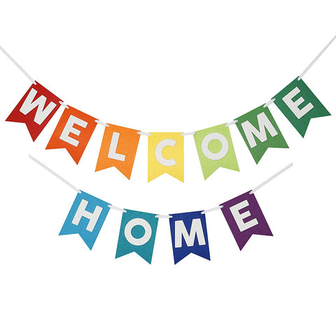 Welcome Home Banner Bunting Laser Cut Felt 54 Inches Wide - Rainbow