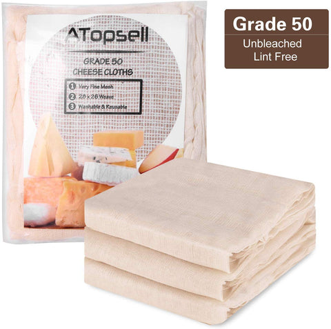 Atopsell Unbleached Cheese Cloths Washable And Reusable Cheese Bags Natural Ultra Fine Cheese Makers For Straining, Cookingcheese, Yoghurt And Wine Making,36 Sq Feet (Grade 50)