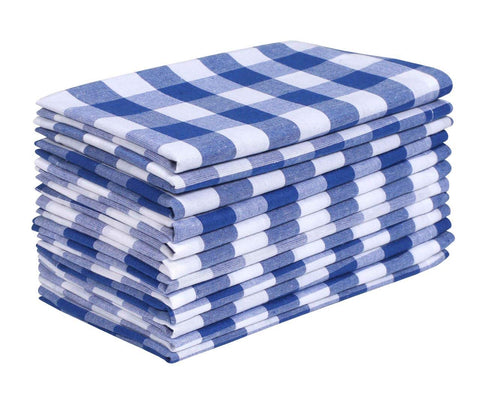 Dinner Napkin Gingham Plaid Check, 100% Cotton Napkin, Wedding Napkins, Cocktails Napkins, Fabric Napkins, Cotton Napkins, Mitered Corners & Generous Hem, Set Of 12, 18X18 Inches, Ink Blu White Checks