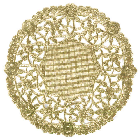 "8"" Gold Foil Doily 50 Count Table Setting Decor Arts And Crafts Durable Disposable Coaster"