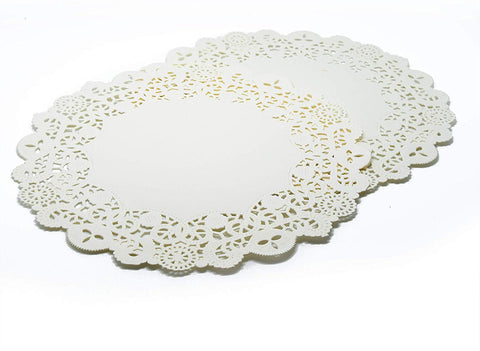 Cakebon Round Paper Lace Doilies - Decorative Placemats, Tableware - (9.5 Inches, White, 300 Pack)