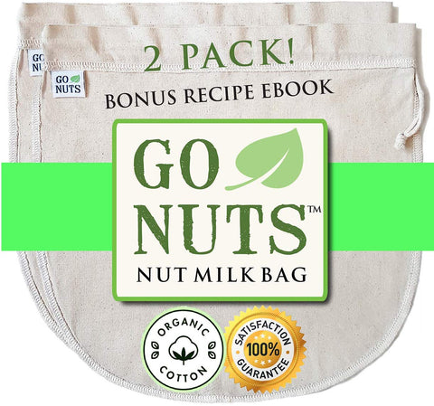 "100% Organic Cotton Nut Milk Bag - Restaurant Commercial Grade By Gonuts - 12""X12"" Cheesecloth Strainer Filter For Best Almond Milk, Celery Juicing, Cold Brew Coffee, Tea, Yogurt, Tofu"