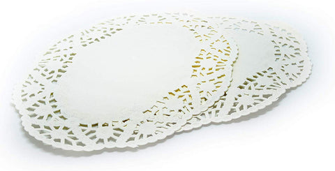 "Cakebon Oval Paper Lace Doilies - Decorative Placemats - (8.5 X 12.5"" Inches, White, 300 Pack)"