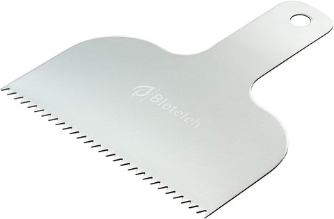 Bleteleh Stainless Steel Cake Decorating Comb And Icing Smoother With Handle