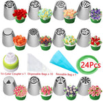 Russian Piping Tips Set, Wowdecor 24Pcs Cake Cupcake Decorating Supplies Kit, Icing Nozzles Flowers Shaped, Frosting Bags And Tips Baking Supplies