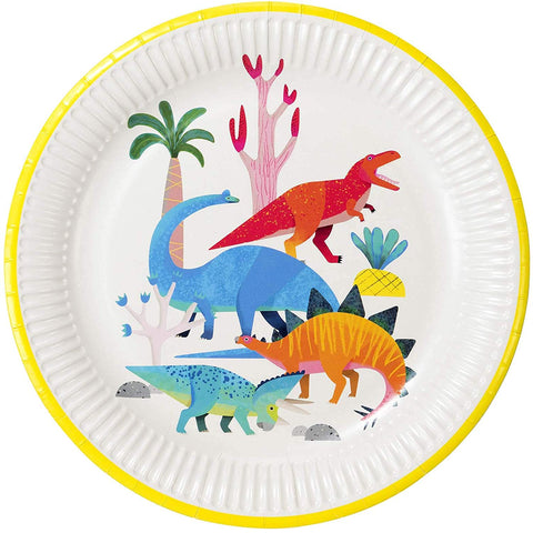 "Talking Tables Dino Dinosaur Party Plates, Dia 23Cm, 9"", Mixed Colors"