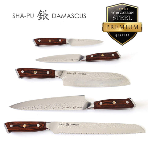 Knife Set: 5-Piece Kitchen Knife Set, Sha-Pu Premium Handcrafted Vg10 Damascus Steel Kitchen Knives Redwood Signature Series Handle