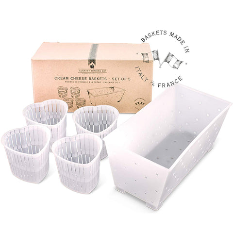 Cream Cheese Baskets - Set Of 5 Molds For Making Soft Cheese And Vegan Cheese
