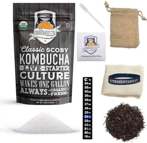 Kombucha Brewing Ingredient Kit | Usda Organic Kombucha Scoby- Pellicle With 1.5 Cups Starter Tea | Organic Sugar | Organic Tea Blend| Thermometer | Ph Strips | Breathable Cover And Rubber Band