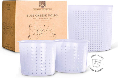 Cheese Press Molds Set Of 3 For Making Blue And Hard Cheeses At Home - Quality Italian Baskets To Make Gorgonzola Colby Gouda Cheddar Or Diy Organic Vegan Nut Cheese Maker
