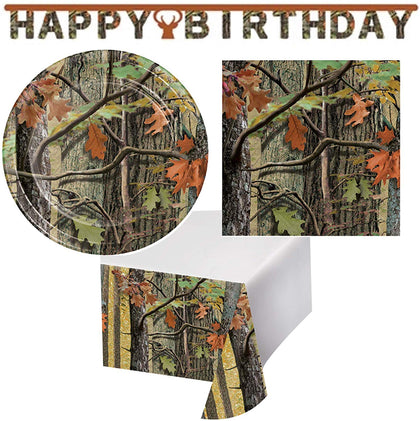 Olive Occasions Hunting Camouflage Happy Birthday Disposable Paper Party Supplies Serves 16 Cake Plates, Beverage Napkins, Table Cover And Banner