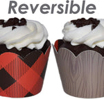 Lumberjack Party Supplies- 36 Reversiblebuffalo Plaid Cupcake Wrappers | Woodgrain Cupcake Holders, Wild One Birthday Decorations, Woodland Party Supplies, Camping Party Decorations