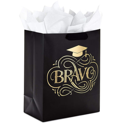 "Hallmark 13"" Large Graduation Gift Bag With Tissue Paper - Bravo (Black And Gold) For College, Nursing School, Medical School, High School And More"