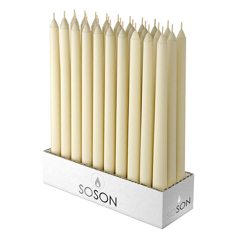 Simply Soson Ivory Tall Taper Candles - 10 Inch Dripless, Unscented Dinner Candle - Paraffin Wax With Cotton Wicks Code 1905