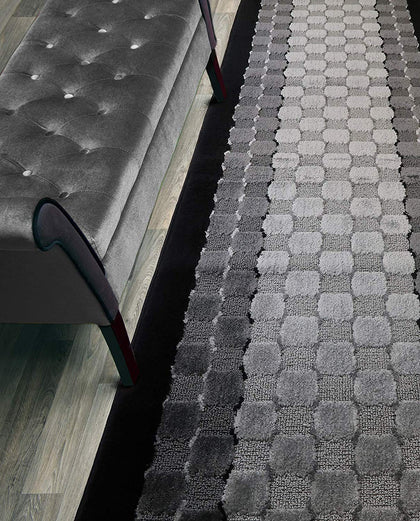 Custom Length Hallway Runner Rug,Slip Resistant,Checkered Black, 26 Inch X 9 Feet, Sold And Priced Per Foot