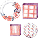 Amscan Pantone Living Coral Grid And Floral Tableware Kit For 16 Guests