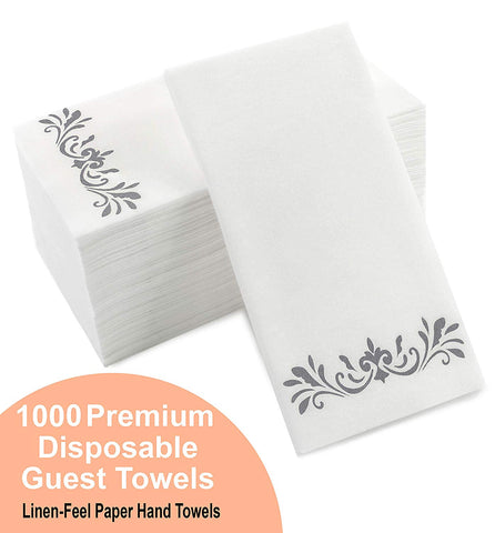 "Silver Napkins For Wedding Reception, Guest Towels Disposable, Decorative Hand Towel, Linen Feel Disposable Hand Towels For Guest Bathroom - White With Silver, 1000 Pack, 8.25 X 4"" (Bulk Packaging)"