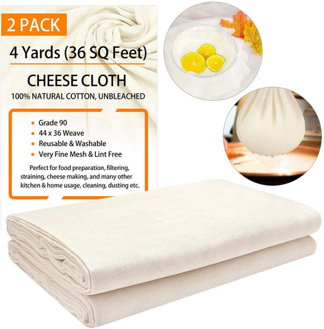 Cheesecloth Grade 90, 36 Sq Feet X 2 Pack, Total 8 Yards, 100% Unbleached Cotton Fabric Washable And Reusable