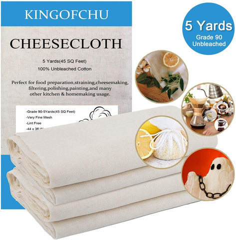 Cheesecloth For Straining Cooking Grade 90 45 Square Feet(5 Yards) Food Filter 100% Unbleached Cotton Fabric Fine Mesh Cheesecloth Nut Milk Bags Food Strainer Hallowmas Decorations