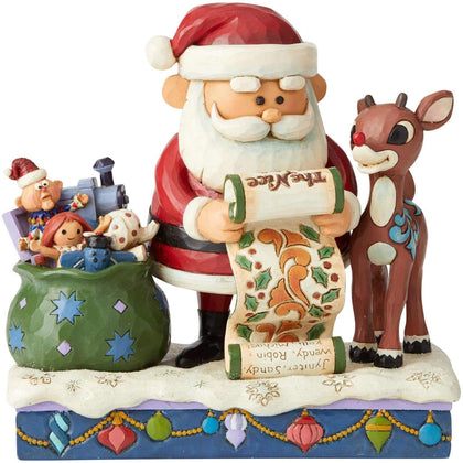 Enesco Rudolph And Santa With List Figurine