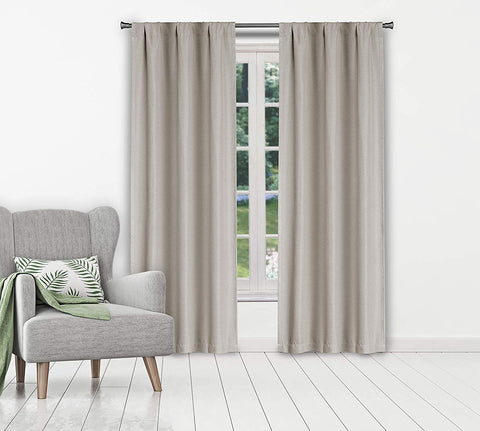 Kelvin Marcella Pole Top Solid Linen Textured Blackout Room Darkening Window Curtain Pair Drape For Living Room & Bedroom Set Of 2 Panels, 38 X 84 Inch