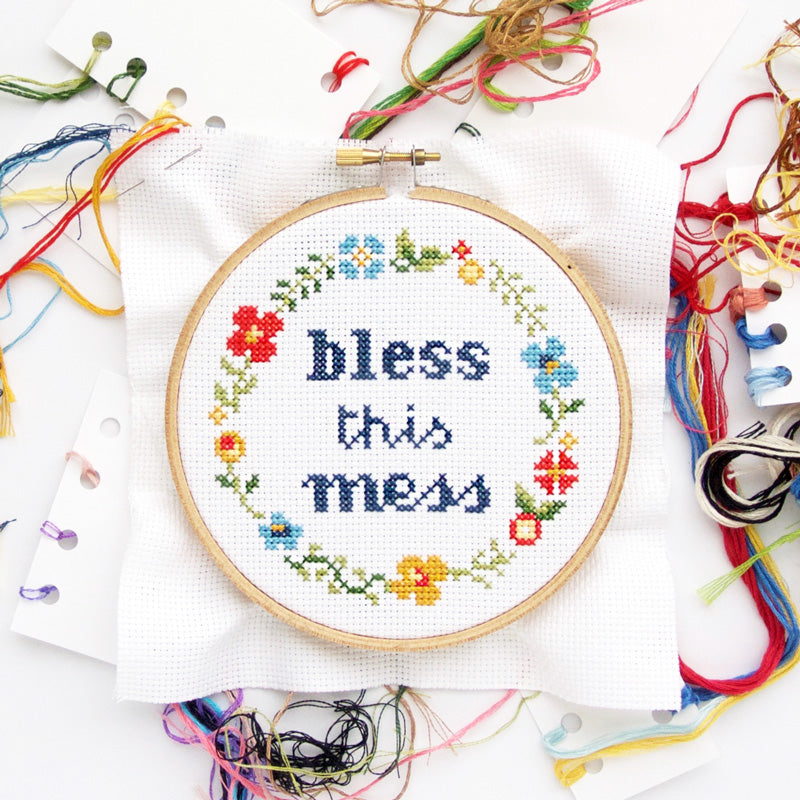 083ca4a8 Counted Cross Stitch Kit | Bless This Mess | The Stranded Stitch