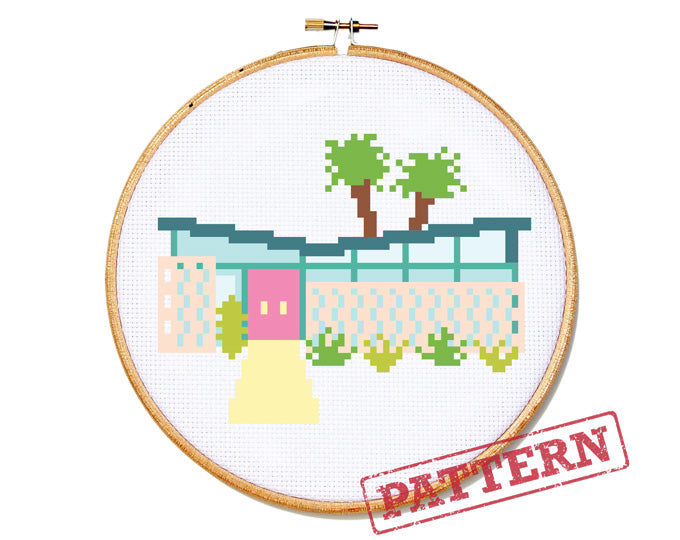 Palm Springs Getaway Mid Century Modern House Cross Stitch Pattern