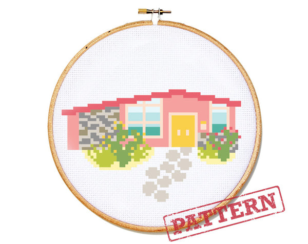 Modern Pink Ranch House Cross Stitch Pattern