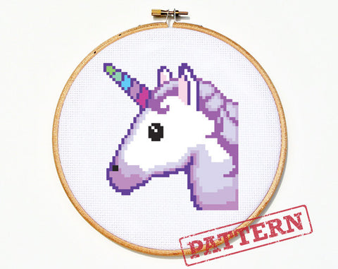 Emoji Unicorn Cross Stitch Pattern