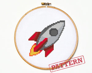Emoji Rocket Ship Cross Stitch Pattern