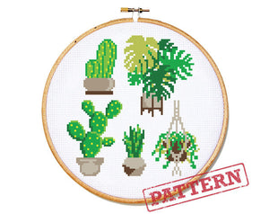 House Plant Cactus Succulent Set Cross Stitch Pattern