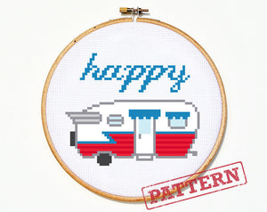Happy Camper Vintage Trailer Cross Stitch Pattern