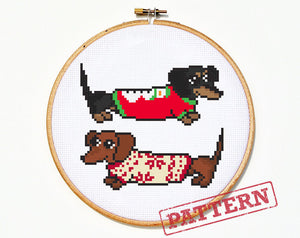 Dachshunds in Christmas Sweaters Weiner Dog Cross Stitch Pattern