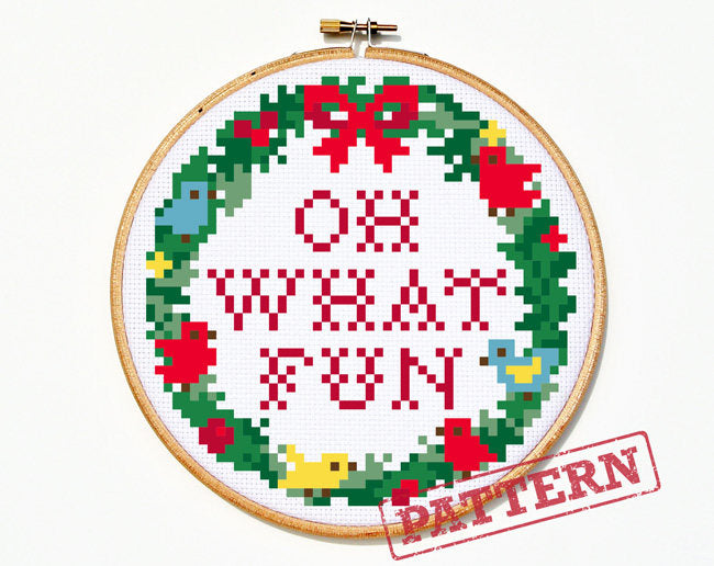 Oh What Fun Christmas Wreath Cross Stitch Pattern