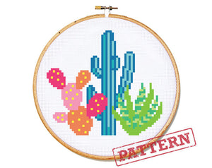 Colorful Cactus Cross Stitch Pattern