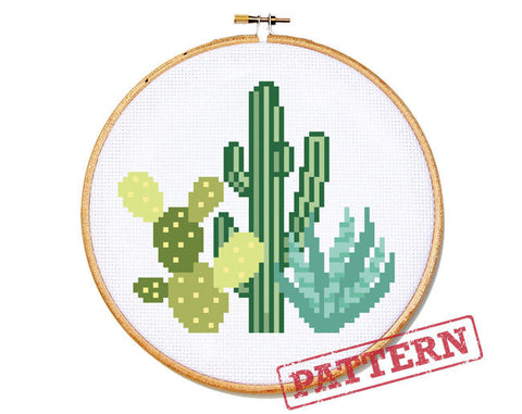 Desert Cactus Cross Stitch Pattern