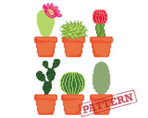 Set of 6 Cactus and Succulents Cross Stitch Pattern