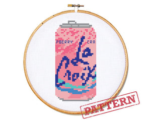 La Croix Can Cran-Raspberry Cross Stitch Pattern