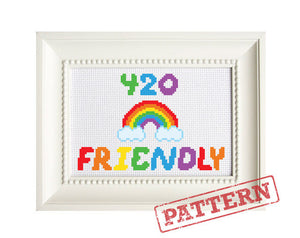 420 Friendly Rainbow Mature Cross Stitch Pattern