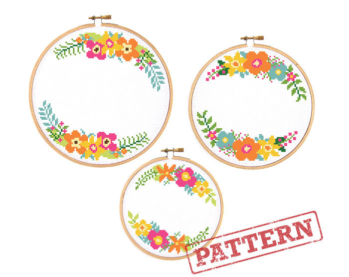 Flower Wreath Borders Set of 3 Cross Stitch Patterns