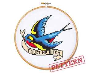Little Bird Tattoo Cross Stitch Pattern