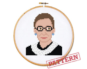Ruth Bader Ginsburg Cross Stitch Pattern
