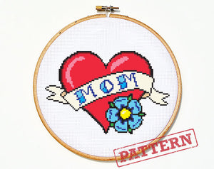 Mom Heart Tattoo (large) Cross Stitch Pattern