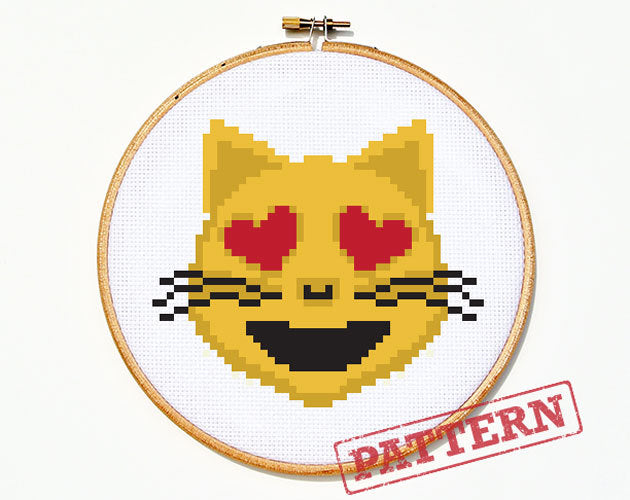 Emoji Cat with Heart Eyes Cross Stitch Pattern