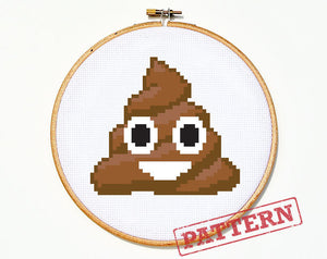 Emoji Smiling Poo Cross Stitch Pattern