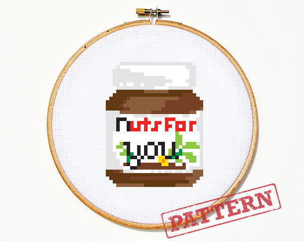 Nutella Nuts for You Cross Stitch Pattern
